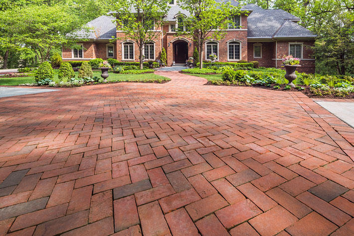 brick paved entrance to home