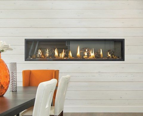 indoor electric fireplace in wall