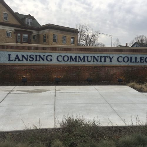 Lansing community college sign with brick from Young Bros & Daley