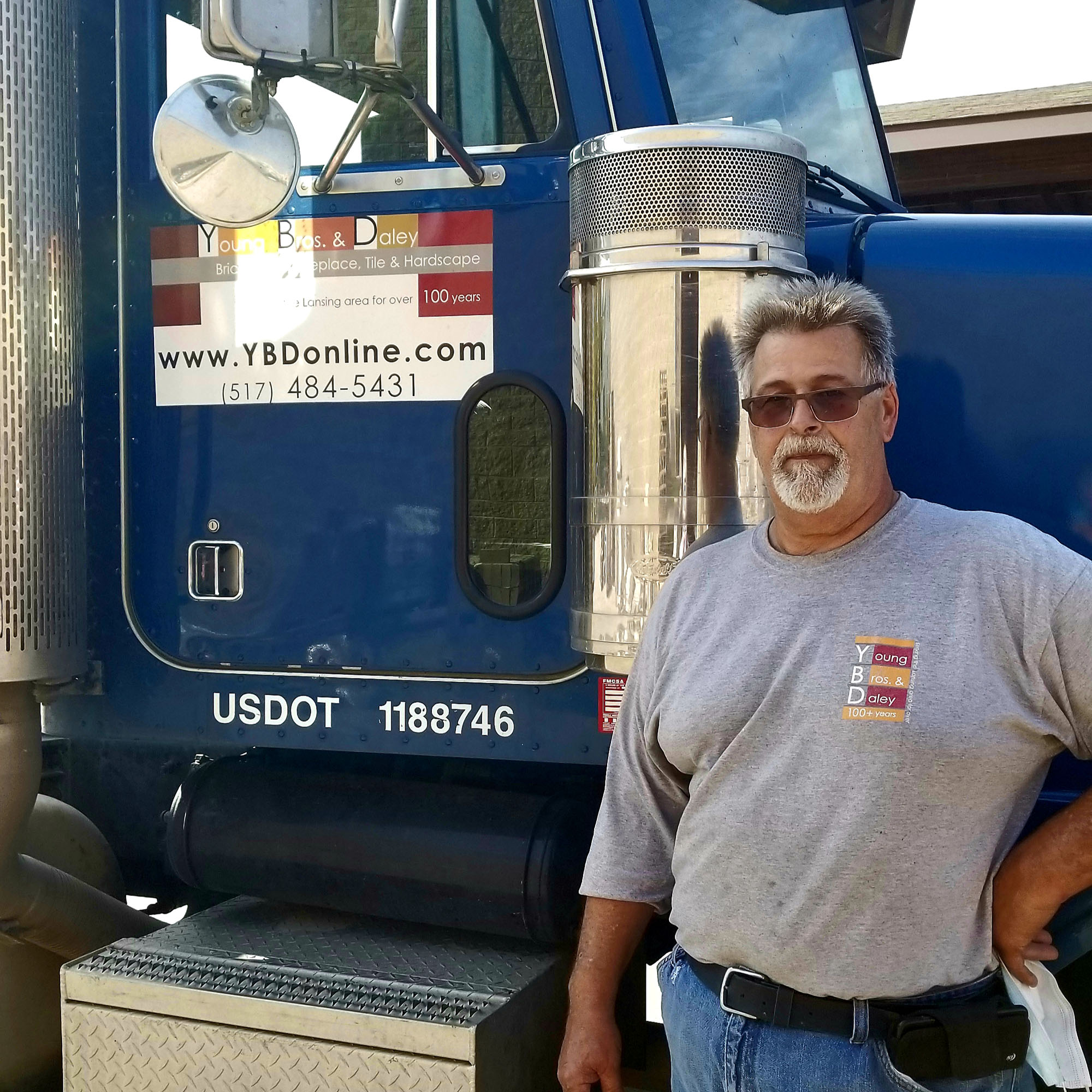 landscape supply store truck driver with YBD shirt