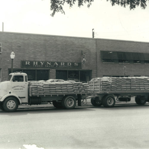 old photograph of young bros & daley truck with landscaping supplies