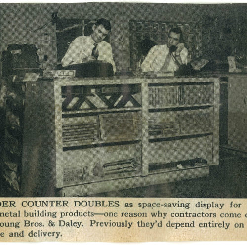 old newspaper clipping of Young Bros & Daley article