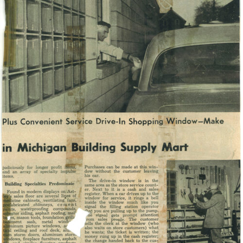 old newspaper clipping of supply mart article