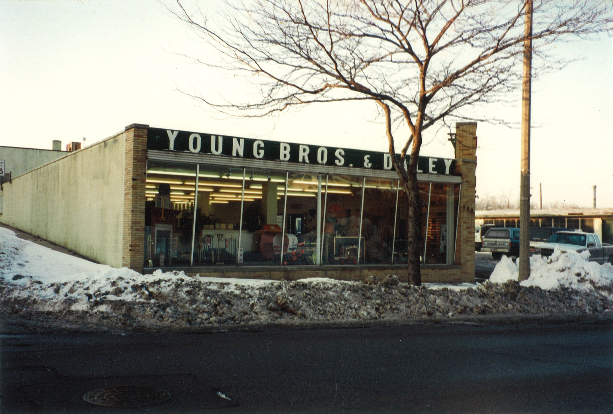 old photograph of young bros & daley storefront