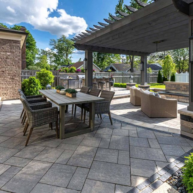 outdoor living space furniture display on patio