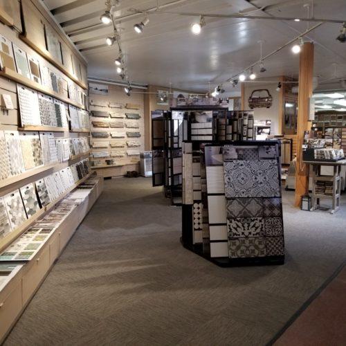 showroom display of stone, tile and flooring