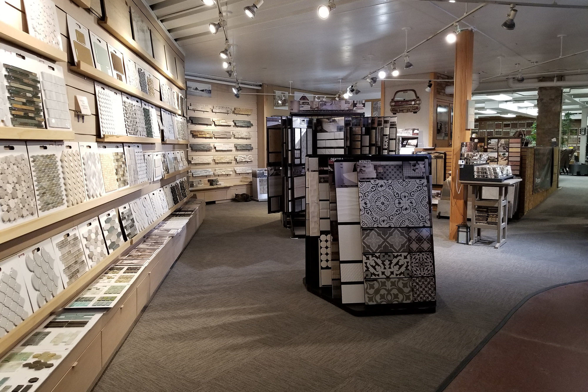 showroom display of stone, tile and flooring at landscaping supply store