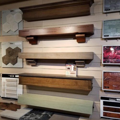 showroom display of wooden mantles