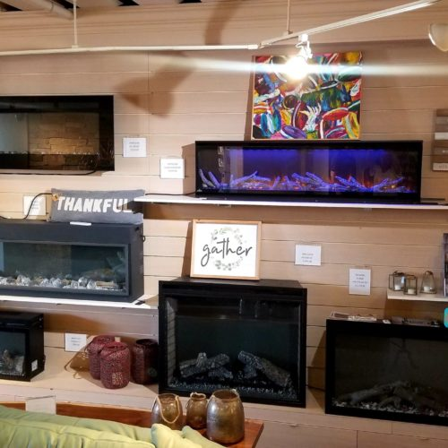 showroom display of electric fireplaces