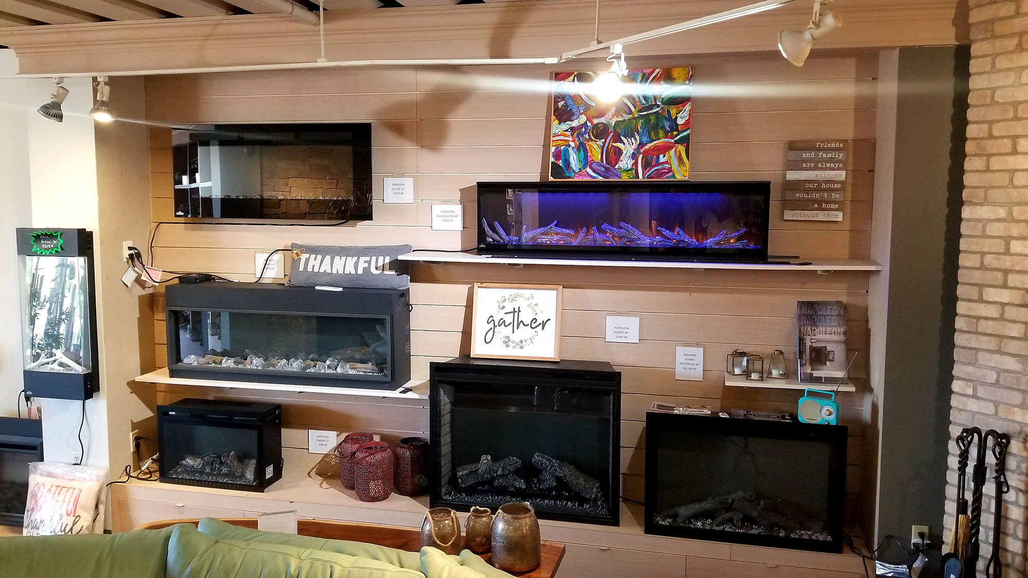 showroom display of electric fireplaces at landscaping supply store