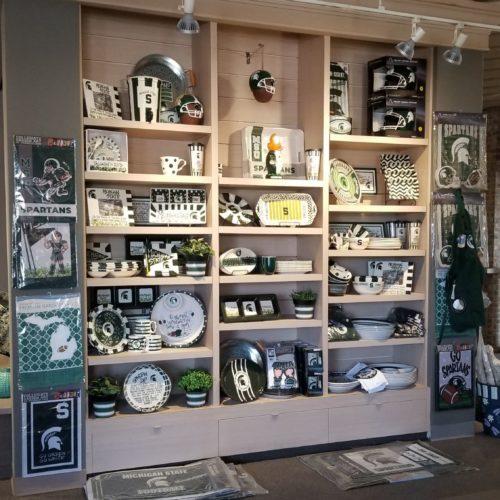showroom display of football home furnishings and decor