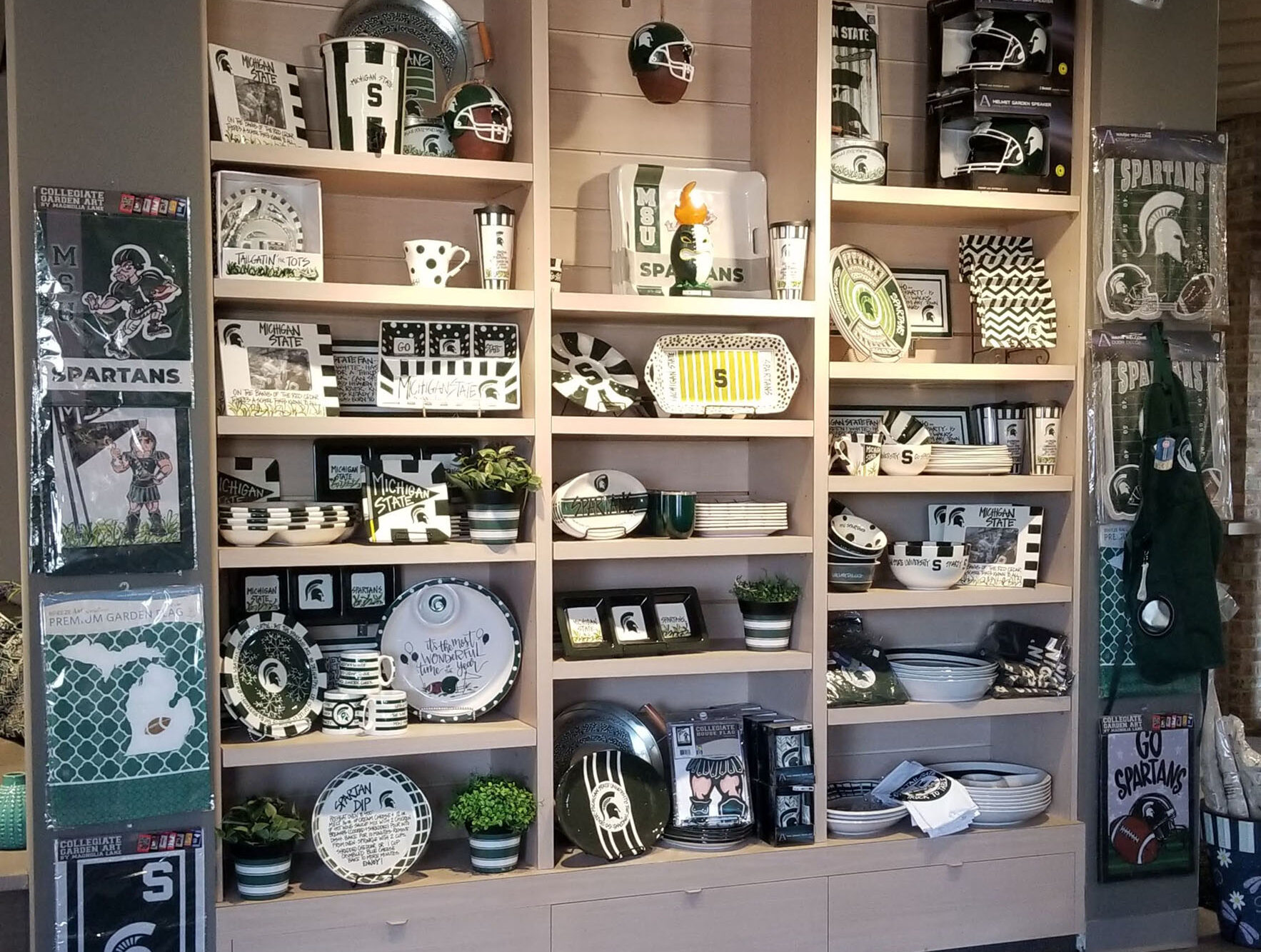 showroom display of football home furnishings and decor at landscaping supply store