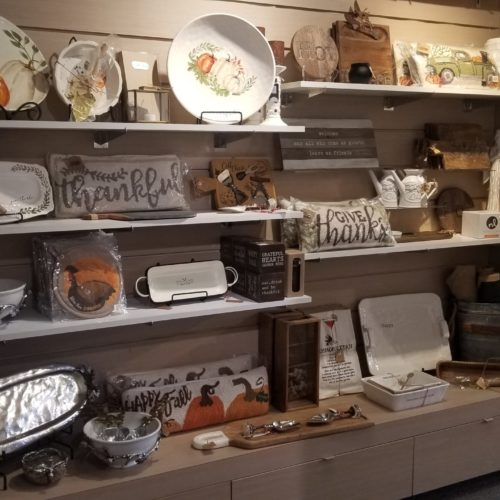 showroom display of Thanksgiving home furnishings and decor
