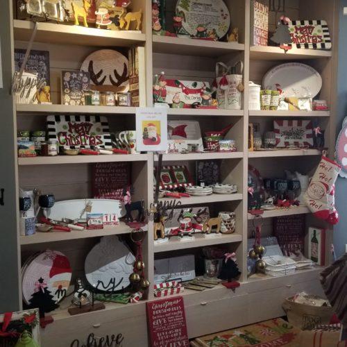 showroom display of Christmas home furnishings and decor