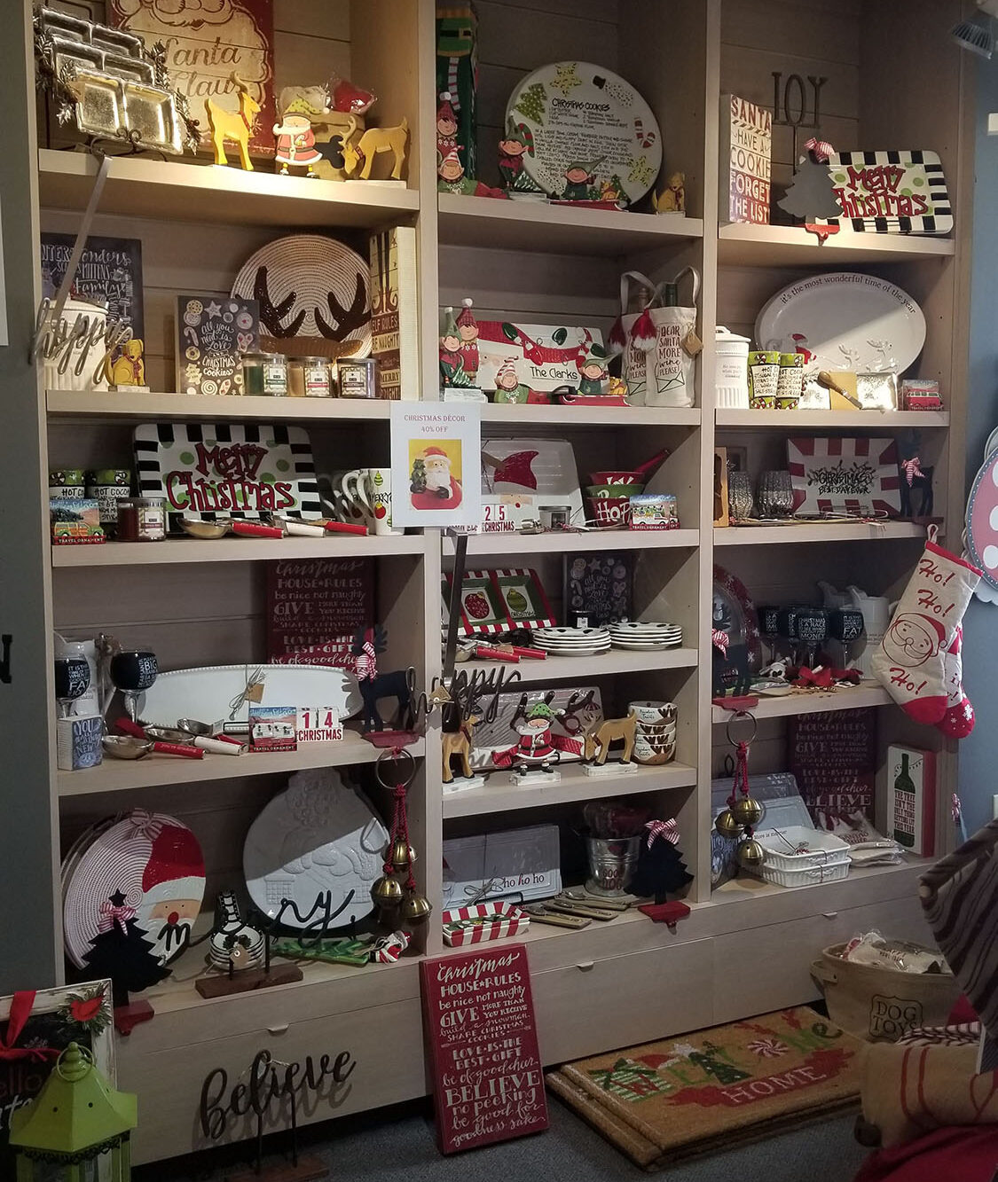 showroom display of Christmas home furnishings and decor at landscaping supply store